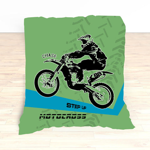 Motocross Bedding Personalized, Comforter, Duvet, Dirt Bike, Freestyle, Green, Blue - 2cooldesigns