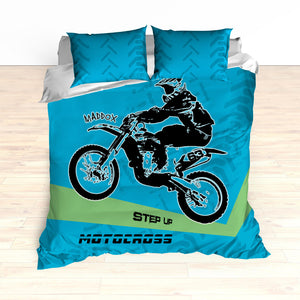 Motocross Bedding Personalized, Comforter or Duvet,  Dirt Bike, Freestyle Motocross, Blue and Green