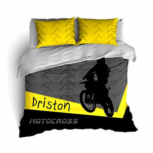 Personalized Motocross Comforter or Duvet, Motocross Bedding, Dirt Bike, Freestyle Motocross, Yellow