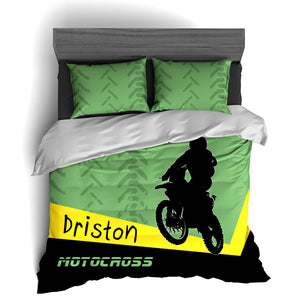 Personalized Motocross Comforter or Duvet, Motocross Bedding Set, Dirt Bike Bedding, Freestyle Motocross, Green - 2cooldesigns