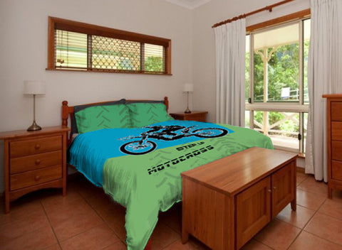 Motocross Bedding Personalized, Comforter or Duvet,  Dirt Bike, Freestyle Motocross, Blue and Green - 2cooldesigns