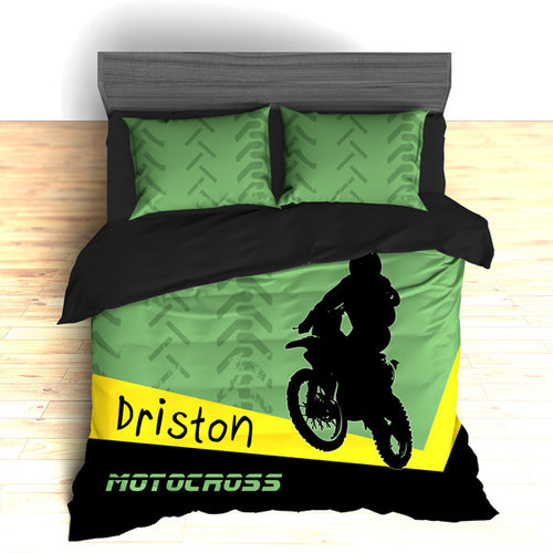 Personalized Motocross Comforter or Duvet, Motocross Bedding, Dirt Bike, Freestyle Motocross, Green - 2cooldesigns