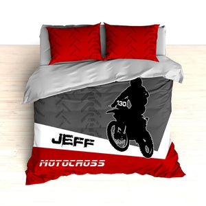 Personalized Motocross Comforter or Duvet, Motocross Bedding, Dirt Bike, Red, White and Grey