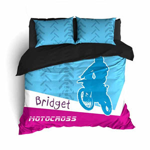 Personalized Motocross Comforter or Duvet, Motocross Bedding, Blue and Pink