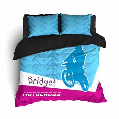 Personalized Motocross Comforter or Duvet, Motocross Bedding, Blue and Pink - 2cooldesigns