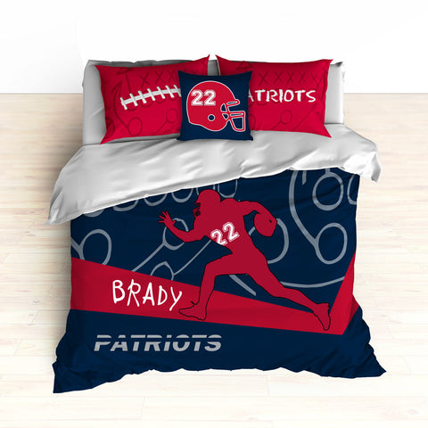 Patriots Bedding, Personalized Football Bedding, Black and Red Football Bedding