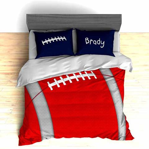 Personalized Football Team Colors Themed Bedding, Duvet or Comforter Sets, Red, White and Blue - 2cooldesigns