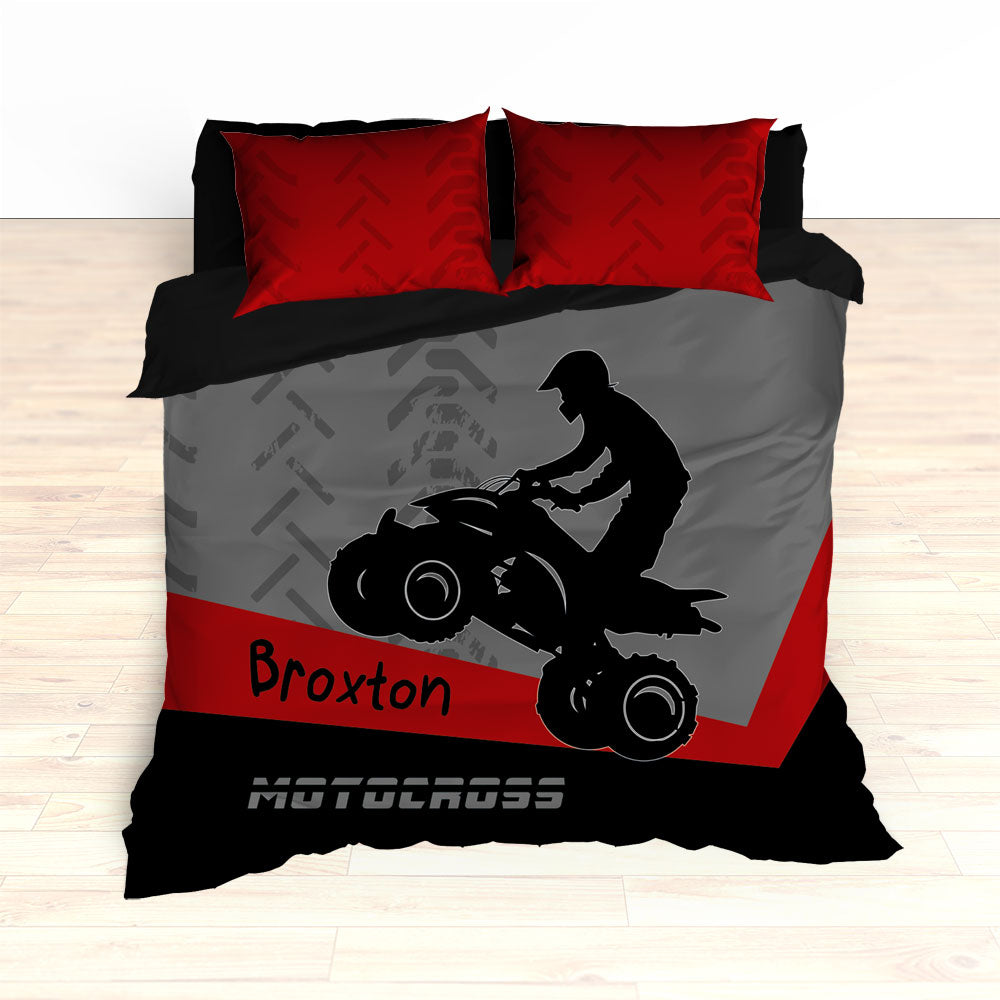 Quad Dirt Bike ATV Motocross Bedding, Red, Black, Personalized - 2cooldesigns