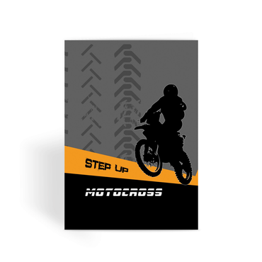 Motocross Orange and Black Greeting Card - 2cooldesigns