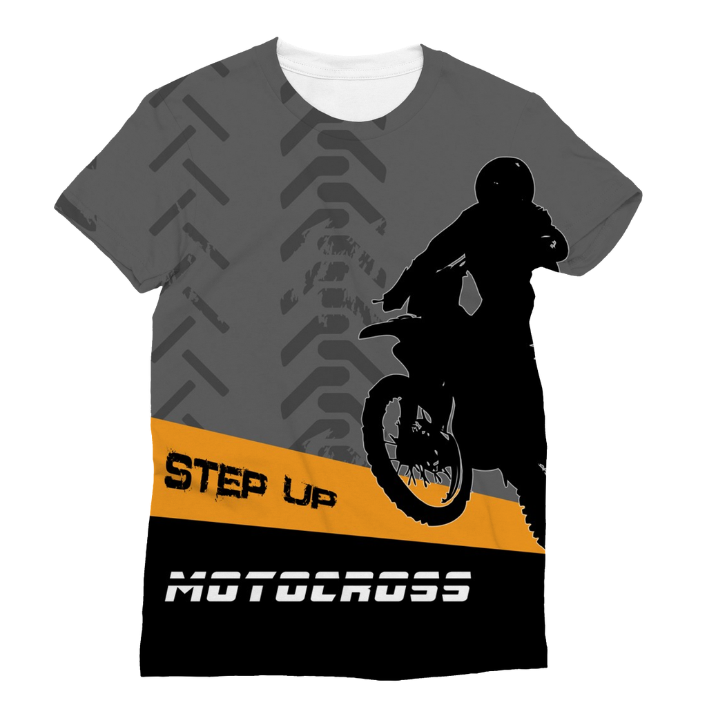 Motocross Orange and Black Sublimation T-Shirt - 2cooldesigns