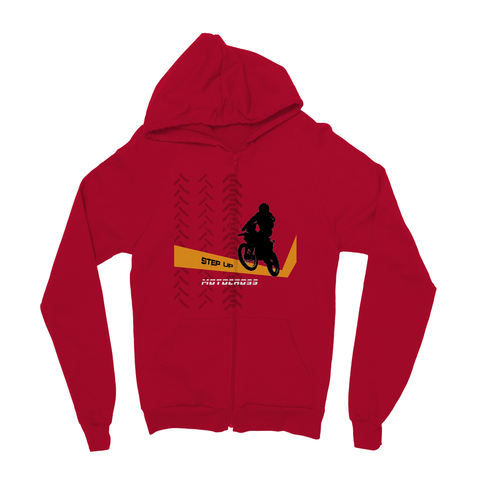 Motocross Orange and Black Kids Zip Hoodie - 2cooldesigns