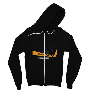 Motocross Orange and Black Fine Jersey Zip Hoodie - 2cooldesigns