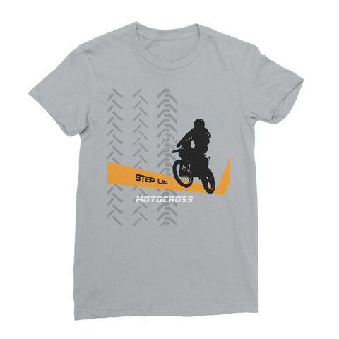 Motocross Orange and Black Women's Fine Jersey T-Shirt - 2cooldesigns