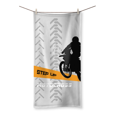Motocross Orange and Black Beach Towel - 2cooldesigns