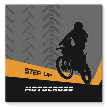 Motocross Orange and Black Stretched Canvas - 2cooldesigns