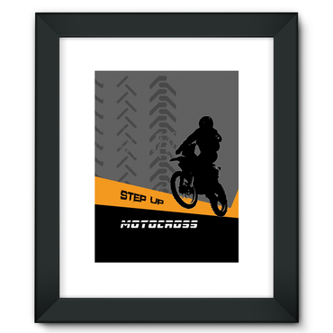 Motocross Orange and Black Framed Fine Art Print - 2cooldesigns