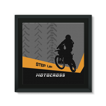 Motocross Orange and Black Framed EcoCanvas - 2cooldesigns