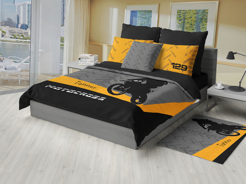Personalized Motocross Comforter or Duvet, Motocross Bedding, Dirt Bike, Freestyle Motocross, Orange - 2cooldesigns