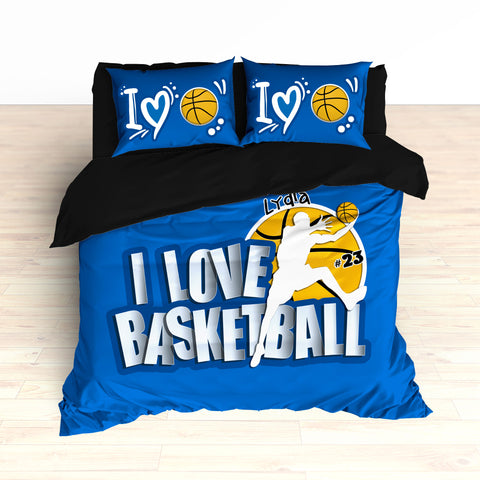 Custom Basketball Bedding, Personalized, I Love Basketball, Basketball Duvet or Comforter - 2cooldesigns
