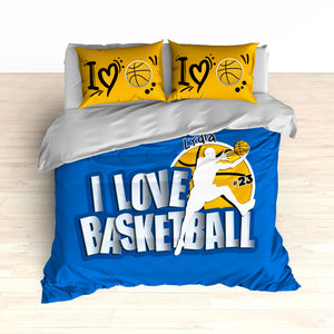 Custom Basketball Bedding, Personalized, I Love Basketball, Basketball Duvet or Comforter