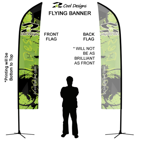 11' Feather Banner with Stand - Printed with Your Design - 2cooldesigns