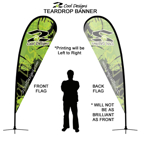 11' Teardrop Flying Banner with Stand - Printed with Your Design - 2cooldesigns