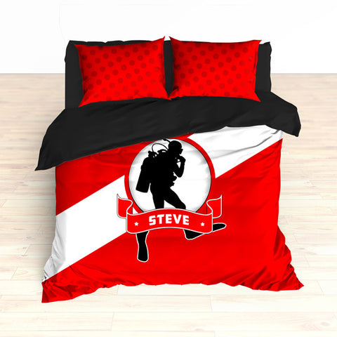 Personalized Scuba Diving Bedding Set, Custom Duvet or Comforter Sets for Scuba Themed Bedroom - 2cooldesigns
