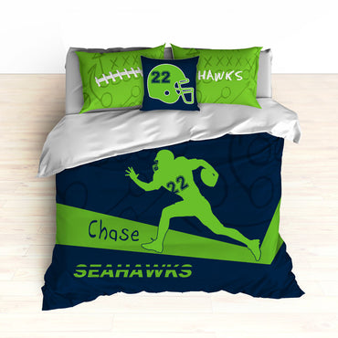 Seahawks Bedding, Personalized Football Bedding, Green and Blue Football Bedding - 2cooldesigns