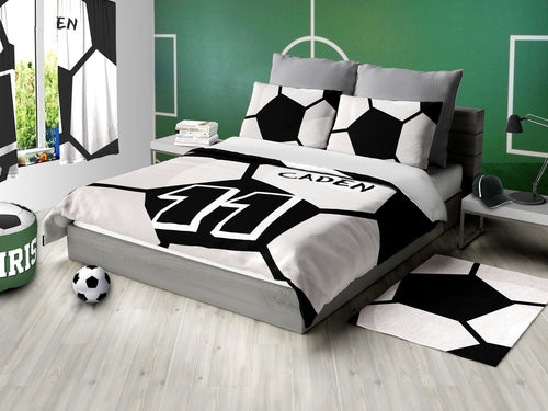 Custom Soccer Theme Bedding, Personalized Duvet or Comforter Sets
