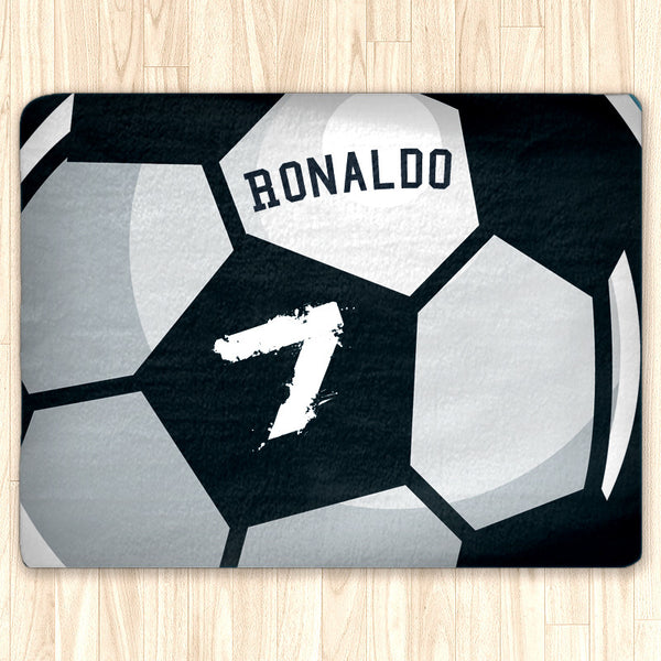 Custom Soccer Ball Area Rug Fuzzy, Personalized Area Rugs and Mats