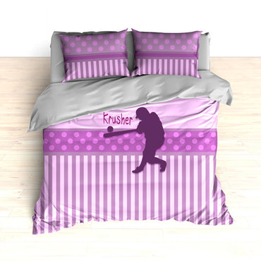 Softball Batter Bedding, Duvet or Comforter Sets, Softball Design - 2cooldesigns