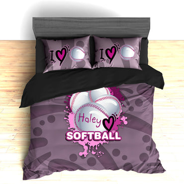 Softball Bedding, Duvet or Comforter Sets, Softball Design - 2cooldesigns