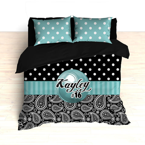 Personalized Paisley Softball Bedding, Duvet or Comforter Sets, Teal and Black Paisley - 2cooldesigns