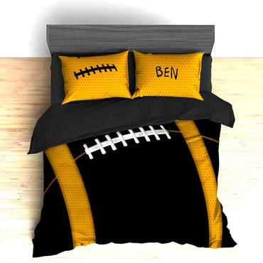 Personalized Football Team Colors Themed Bedding, Duvet or Comforter Sets, Gold and Black - 2cooldesigns