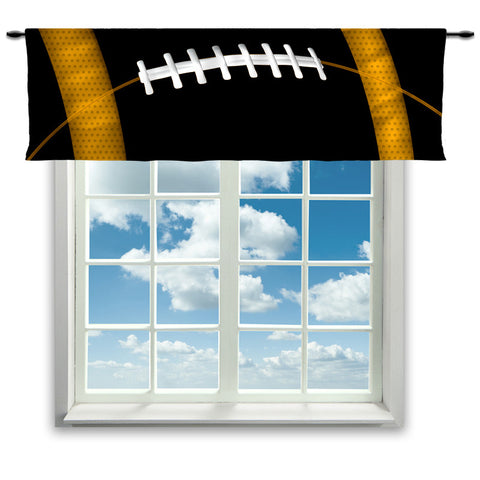 Football Team Colors Window Curtain or Valance, Black and yellow - 2cooldesigns