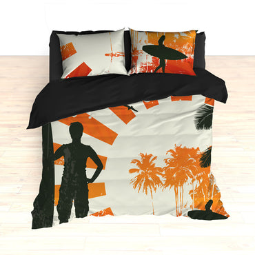 Personalized Surfing Bedding, Retro Surfer, Duvet or Comforter Set - 2cooldesigns