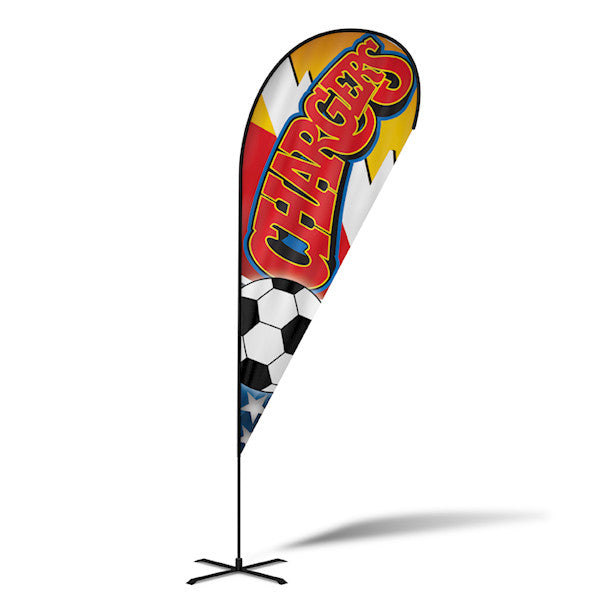 18' Teardrop Flying Banner with Stand - Printed with Your Design - 2cooldesigns