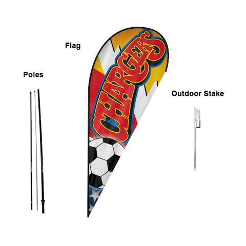 14' Teardrop Flying Banner with Stand - Printed with Your Design