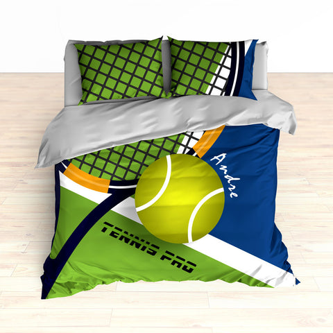 Tennis Bedding, Tennis Comforter, Tennis Duvet, Green, Blue, Personalized Kids bedding - 2cooldesigns
