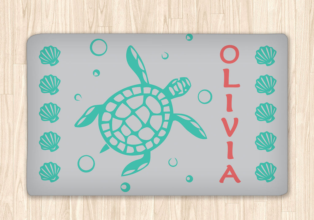 Sea Turtle and Sea Shells Area Rug Personalized - 2cooldesigns