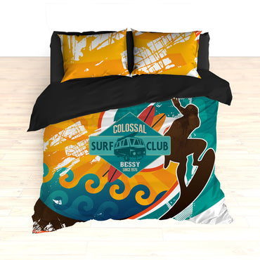 Personalized Retro Surfer Bedding, Surfing, Duvet or Comforter Set - 2cooldesigns