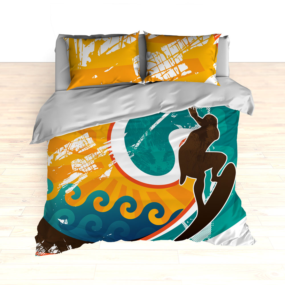 Personalized Retro Surfer Bedding, Surfing, Duvet or ...