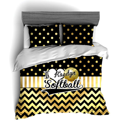 I Love Softball Themed Bedding, Gold Polka dots and Chevron Duvet or Comforter Sets - 2cooldesigns