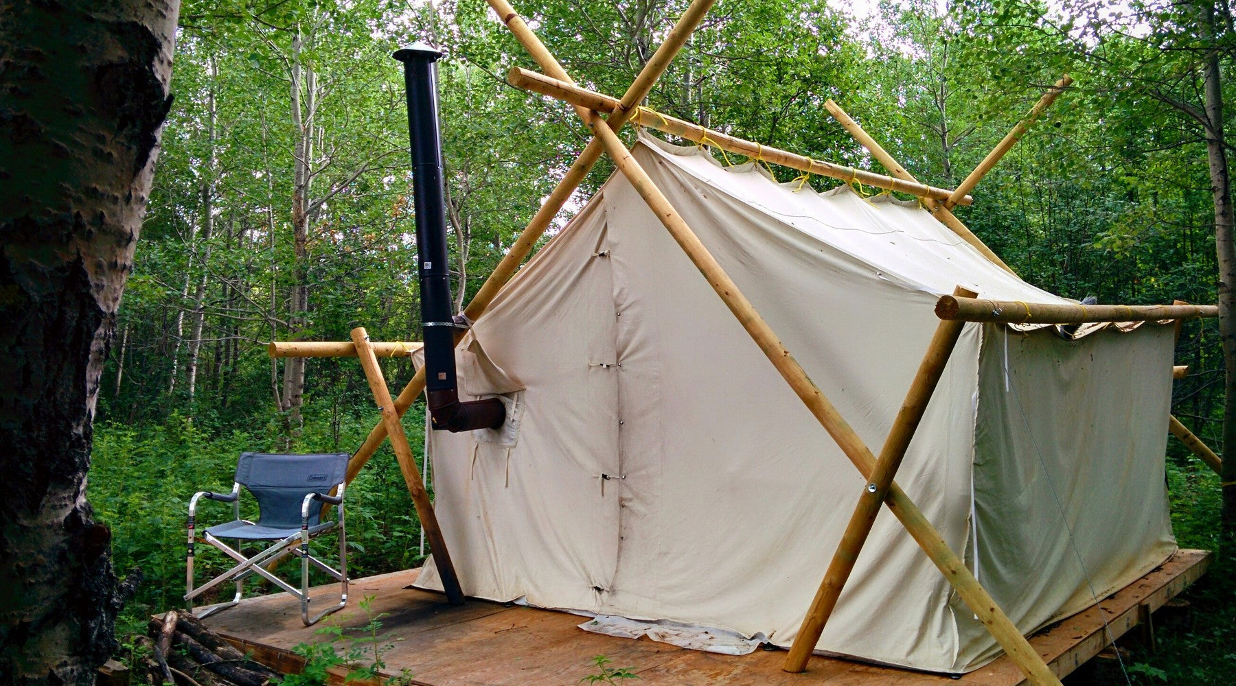Woods industrial prospector wall tent rewild outfitters for Wood tents