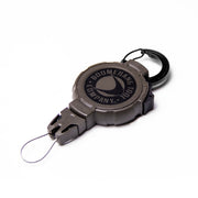 Retractable Hunting Gear Tether with a Universal Easy Change End Fitting