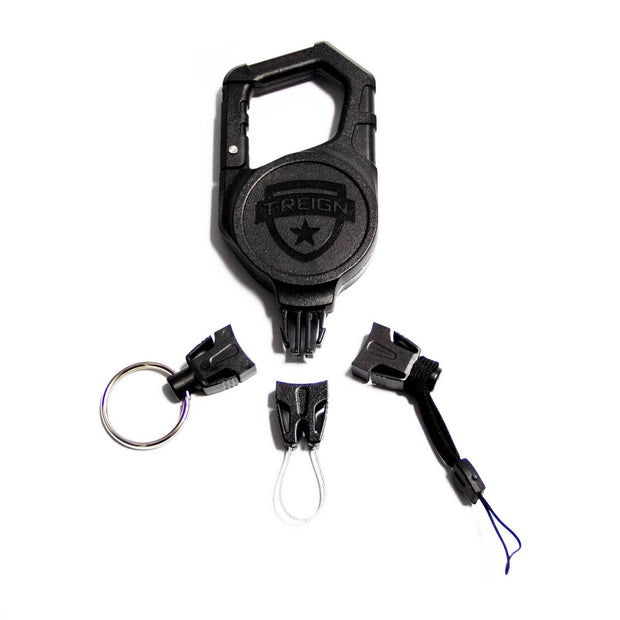 Large Retractable Carabiner Gear Tether with the Easy Change End Fitting Combo Pack