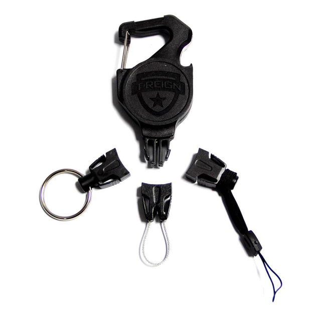 Small Retractable Carabiner Gear Tether with the Easy Change End Fitting Combo Pack