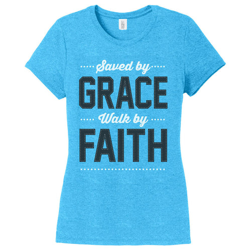 Saved by Grace Walk by Faith Girl's Tee