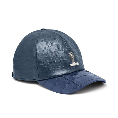 Mauri H65 Men's Wonder Blue Exotic Caiman Crocodile / Nappa Embbosed Hat (MAH1009)