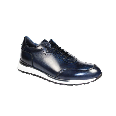 Duca Marini Men's Shoes Navy Calf-Skin Leather Casual Sneakers (D4917)-AmbrogioShoes